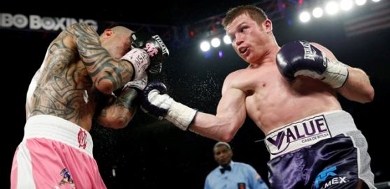 Miguel Cotto, left, of Puerto Rico, and Canelo Alvarez, of Mexico, fight each other during a WBC middleweight title bout Saturday, Nov. 21, 2015, in Las Vegas. (AP Photo/John Locher) ORG XMIT: NVJL126